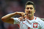 Warsaw, Poland - 2017 September 04: Robert Lewandowski from Poland celebrates after scoring during soccer match Poland v Kazakhstan - FIFA 2018 World Cup Qualifier at PGE National Stadium on September 04, 2017 in Warsaw, Poland.<br /> <br /> Adam Nurkiewicz declares that he has no rights to the image of people at the photographs of his authorship.<br /> <br /> Picture also available in RAW (NEF) or TIFF format on special request.<br /> <br /> Any editorial, commercial or promotional use requires written permission from the author of image.<br /> <br /> Mandatory credit:<br /> Photo by &copy; Adam Nurkiewicz / Mediasport