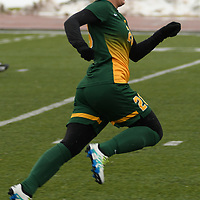 2nd year forward Sydney Langen (28) of the Regina Cougars in action during the Women's Soccer  road trip to Saskatoon on October 9 at Griffiths Stadium. Credit: Arthur Ward/Arthur Images