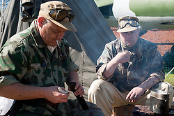 Reenactors from Northern World War Two Association, portraying members of the 1st Fallschirmjaeger Division 'The Green Devils' at Fort Paull<br />