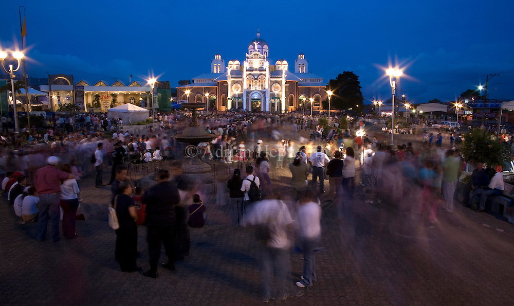 Crowd outside the Basilica church in Cartago during the Romeria, when tens of thousands of people walk from San Jose to Cartago on 1st August each year. Costa Rica. We accept payments via PayPal.