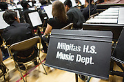 A Milpitas High School music stand sits behind students during the Milpitas Unified School District's Tenth Annual Music Festival at Milpitas High School in Milpitas, California, on April 4, 2013. (Stan Olszewski/SOSKIphoto)