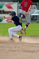 KELOWNA, BC - JULY 16: Cole Cummings #13 of the Kelowna Falcons arrives safe at second base against the the Wenatchee Applesox  at Elks Stadium on July 16, 2019 in Kelowna, Canada. (Photo by Marissa Baecker/Shoot the Breeze)