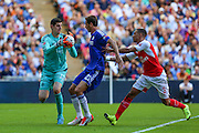 Chelsea goalkeeper Thibaut Courtois comes for the ball  during the FA Community Shield match between Chelsea and Arsenal at Wembley Stadium, London, England on 2 August 2015. Photo by Shane Healey.