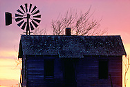 Deserted farm house, windmill, Northwestern Oklahoma