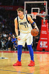 December 21, 2018 - Los Angeles, CA, U.S. - LOS ANGELES, CA - DECEMBER 20: Dallas Mavericks Guard Luka Doncic (77) brings the ball up the court during a NBA game between the Dallas Mavericks and the Los Angeles Clippers on December 20, 2018 at STAPLES Center in Los Angeles, CA. (Photo by Brian Rothmuller/Icon Sportswire) (Credit Image: © Brian Rothmuller/Icon SMI via ZUMA Press)