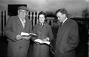 15/11/1965<br /> 11/15/1965<br /> 15 November 1965<br /> Goffs November Bloodstock Sales at the RDS Sale Paddocks, Ballsbridge, Dublin. Photographed at the sales were (l-r): Mr J.W. Cants from Bruff, Co. Limerick; Mrs W.J. O'Rourke from Hospital, Co. Limerick and Mr W.J. O'Rourke from Hospital.