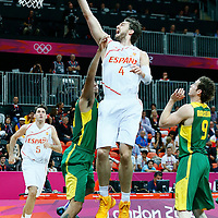 06 August 2012: Spain Pau Gasol goes for the layup during 88-82 Team Brazil victory over Team Spain, during the men's basketball preliminary, at the Basketball Arena, in London, Great Britain.