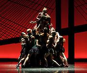 Onegin <br /> Eifman Ballet at the London Coliseum, London, Great Britain <br /> press photocall<br /> 6th April 2012 <br /> <br /> Maria Abashova (as Tatyana)<br /> Oleg Gabyshev (as Onegin)<br /> Natalia Povorozniuk (as Olga)<br /> Dmitry Fisher (as  Lensky)<br /> Sergey Volobuev (as General)<br /> <br /> <br /> Photograph by Elliott Franks