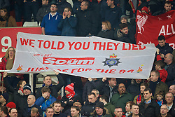 """STOKE-ON-TRENT, ENGLAND - Tuesday, January 5, 2016: Liverpool supporters' banner """"We told you they lied"""" before the Football League Cup Semi-Final 1st Leg match against Stoke City at the Britannia Stadium. (Pic by David Rawcliffe/Propaganda)"""