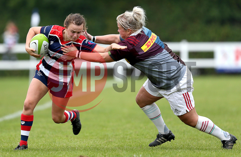 Cat McNaney of Bristol Ladies hands off a tackle - Mandatory by-line: Robbie Stephenson/JMP - 18/09/2016 - RUGBY - Cleve RFC - Bristol, England - Bristol Ladies Rugby v Aylesford Bulls Ladies - RFU Women's Premiership