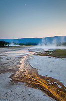 Twilight over hot springs near Biscuit Basin, Yellowstone National Park