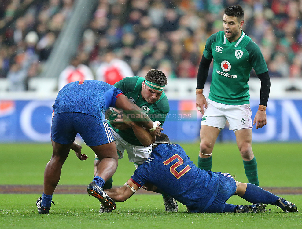Ireland's CJ Stander (centre) in action with France's Yacouba Camara (left) and Guilhem Guirado during the NatWest 6 Nations match at the Stade de France, Paris.