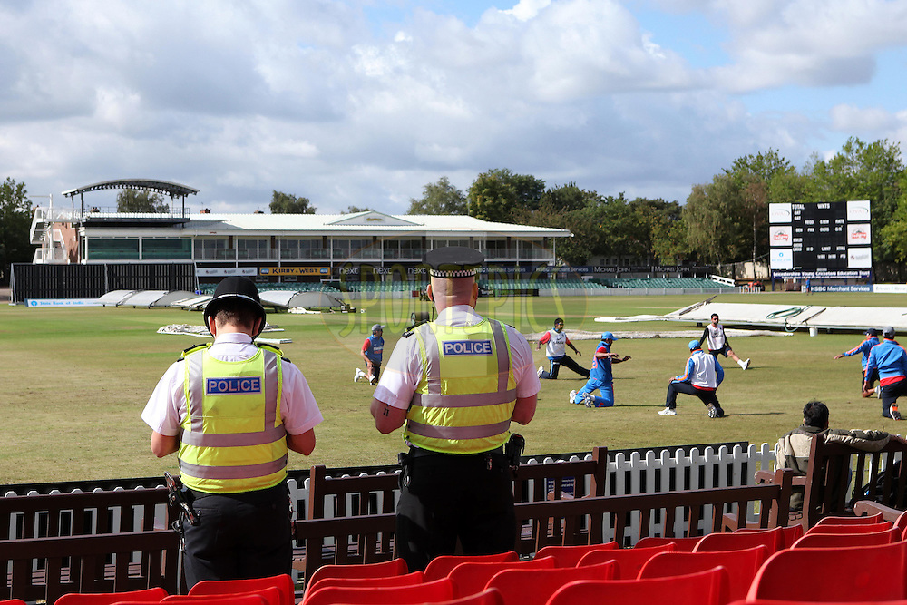 Security has been stepped up following recent events in England including riots and bomb scares during the India practice session at Grace Road Cricket Ground in Leicester, England on the 28th August 2011...Photo by Ron Gaunt/SPORTZPICS/BCCI