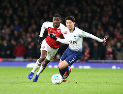 December 19, 2018 - London, England, United Kingdom - London, UK, 19 December, 2018.Eddie Nketiah of Arsenal beats Tottenham Hotspur's Son Heung-Min.during Carabao Cup Quarter - Final between Arsenal and Tottenham Hotspur  at Emirates stadium , London, England on 19 Dec 2018. (Credit Image: © Action Foto Sport/NurPhoto via ZUMA Press)