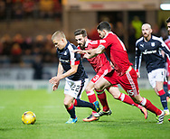 Dundee&rsquo;s Henrik Ojamaa is chased by Aberdeen&rsquo;s Anthony O'Connor and Graeme Shinnie - Dundee v Aberdeen in the Ladbrokes Scottish Premiership at Dens Park, Dundee. Photo: David Young<br /> <br />  - &copy; David Young - www.davidyoungphoto.co.uk - email: davidyoungphoto@gmail.com