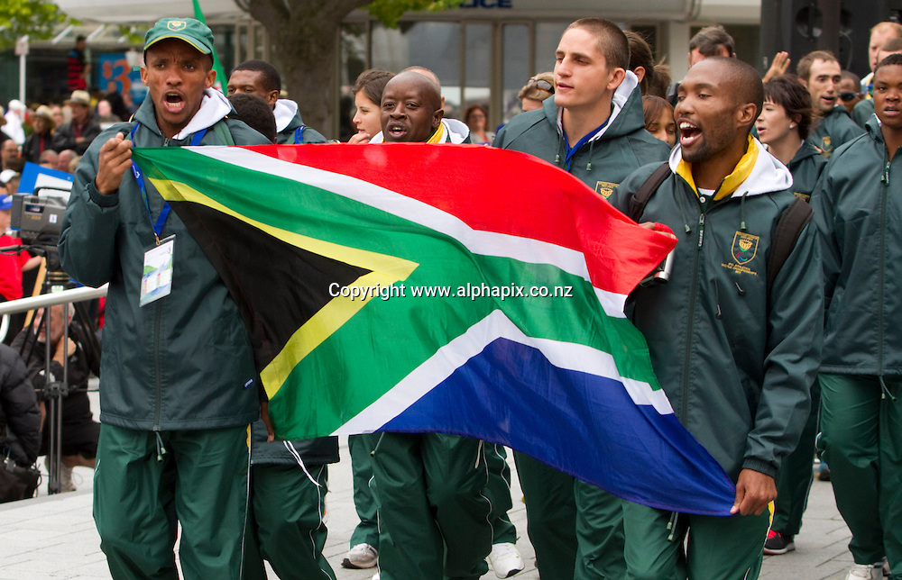 The South African team arrive at the Opening Ceremony. The Square, Christchurch. IPC Athletics World Championship, 22 January 2011 Photo: John Cowpland / photosport.co.nz