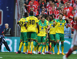 Norwich Celebrate their First Goak by Cameron Jerome, Middlesbrough v Norwich, Sky Bet Championship, Play Off Final, Wembley Stadium, Monday  25th May 2015