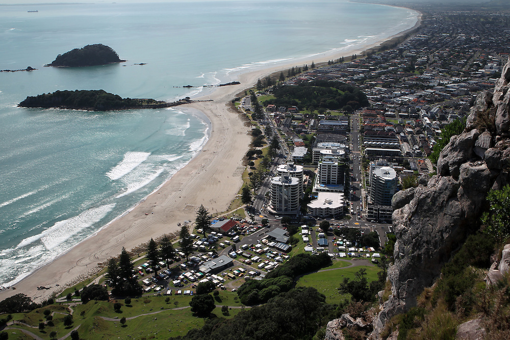 View from the summit of Mount Maunganui, New Zealand, Wednesday, January 9, 2013. Credit:SNPA / Ben Campbell