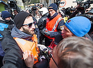 Spokesman for the activists Gian Marco de Pieri is temporarily arrested by the Austrian authorities at a demonstration against cross assurance measures at the border from Italy to Austria in Gries am Brenner, Austria.<br /> Picture by EXPA Pictures/Focus Images Ltd 07814482222<br /> 24/04/2016