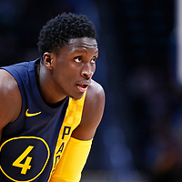 03 April 2018: Indiana Pacers guard Victor Oladipo (4) is seen during the Denver Nuggets 107-104 victory over the Indiana Pacers, at the Pepsi Center, Denver, Colorado, USA.