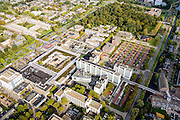 Nederland, Flevoland, Lelystad, 10-10-2014; centrum van de stad met kantorenpark en Stadspark, links de Houtribdreef.<br /> Offices in the city centre.<br /> luchtfoto (toeslag op standard tarieven);<br /> aerial photo (additional fee required);<br /> copyright foto/photo Siebe Swart