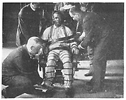 Execution by electric chair, Sing Sing Prison, New York, USA. Strapping the victim into the Death Chair.  From 'The Royal Magazine', London, c1900.