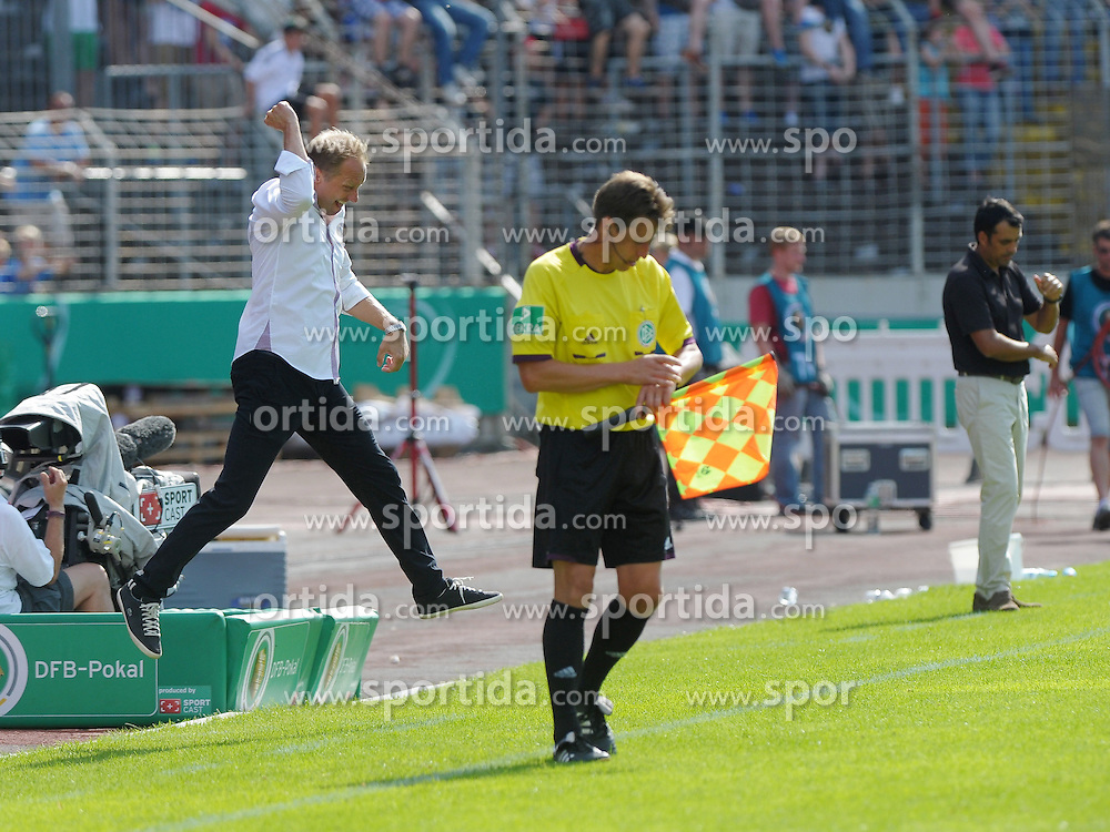 04.08.2013, Ludwigsparkstadion, Saarbruecken, GER, DFB Pokal, 1. FC Saarbruecken vs SV Werder Bremen, 1. Runde, im Bild Juergen Luginger, Cheftrainer 1.FC Saarbruecken, feiert den Schlusspfiff mit einem Luftsprung // during germans DFB Pokal 1st round match between 1.FC Saarbruecken and SV Werder Bremen at the Ludwigsparkstadion, Saarbruecken, Germany on 2013/08/04. EXPA Pictures &copy; 2013, PhotoCredit: EXPA/ Eibner/ Spektrum<br /> <br /> ***** ATTENTION - OUT OF GER *****
