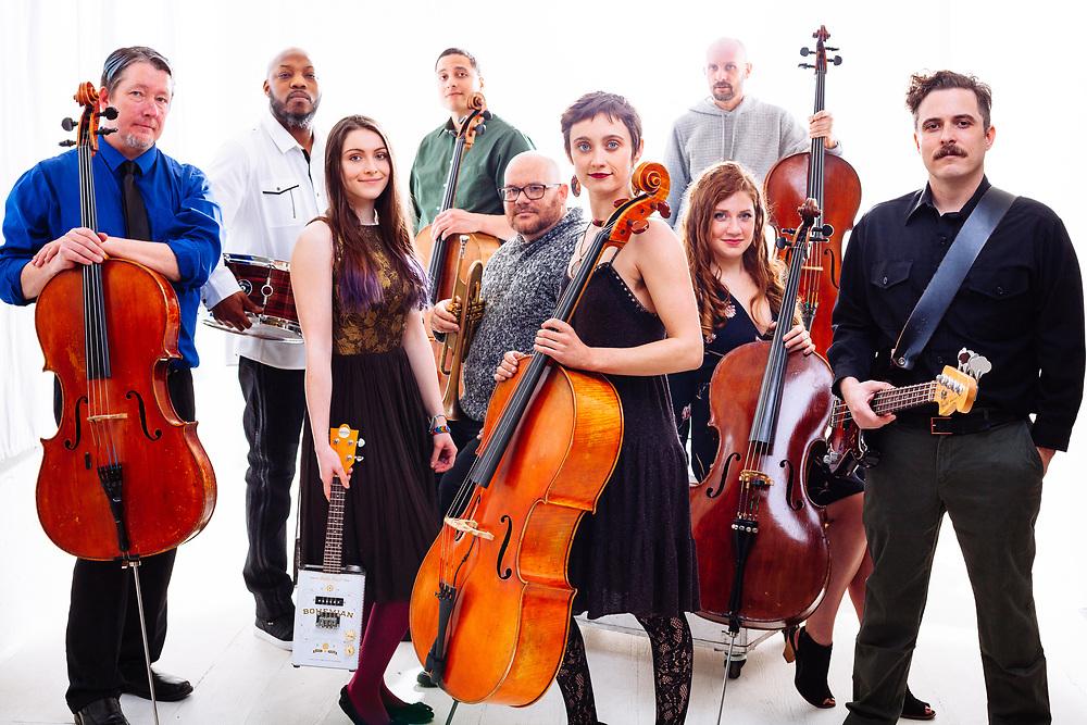Portland Cello Project press portrait, March 2018. Photo by Jason Quigley