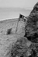 Baker Beach, San Francisco.  An empty life guard chair and a foggy day on the bay.