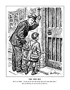 "The New Boy. Mr R A Butler: ""It may not be very easy at first, but you'll soon settle down."" [The new Education Act came into force on April 1st.] (Rab Butler rings the school bell for a new boy carrying a satchel of Opportunity and wearing an Education Act jacket)"