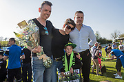 Em receiving Club person of the year award from Forest Green Rovers Chairman Dale Vince and Forest Green Rovers manager, Mark Cooper during the EFL Sky Bet League 2 match between Forest Green Rovers and Grimsby Town FC at the New Lawn, Forest Green, United Kingdom on 5 May 2018. Picture by Shane Healey.