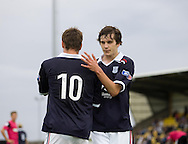 Jake Hyde (10) congratulates Graham Webster on his goal - Dundee v Southend United - East Fife Tournament at New Bayview<br /> <br /> &copy; David Young<br /> <br /> <br /> http://www.davidyoungphoto.co.uk