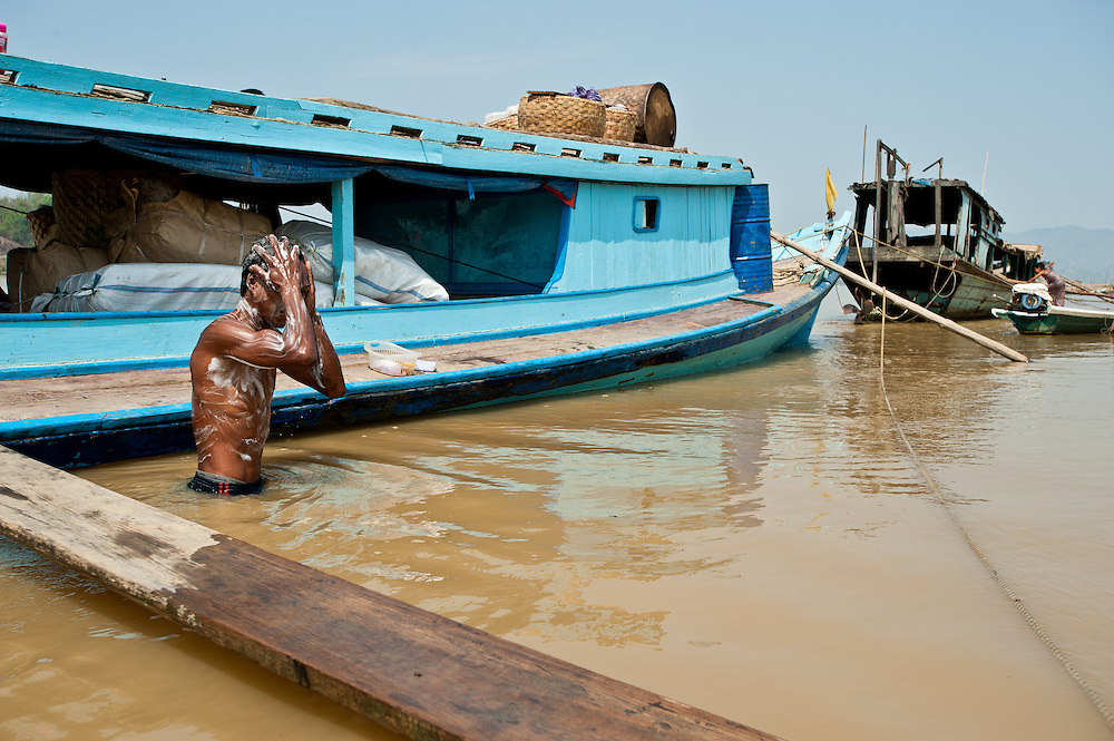 A man bathes in the Chindwin River, a main thoroughfare for commerce in western Myanmar.