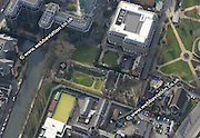 aerial photograph of  Reading Abbey ruins in  Reading Berkshire  England UK