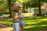 Halle Andrews poses for a photo with Rufus at Bobcat Student Orientation. Photo by Ben Siegel