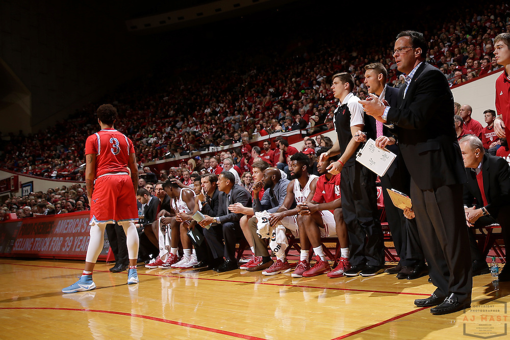 Indiana head coach Tom Crean in action as Delaware State played Indiana in an NCCA college basketball game, in Indianapolis, Monday, Dec. 19, 2016. (AJ Mast)