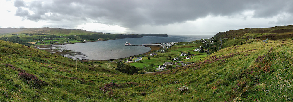 This is an iPhone panorama of the Uig harbor on Sky.