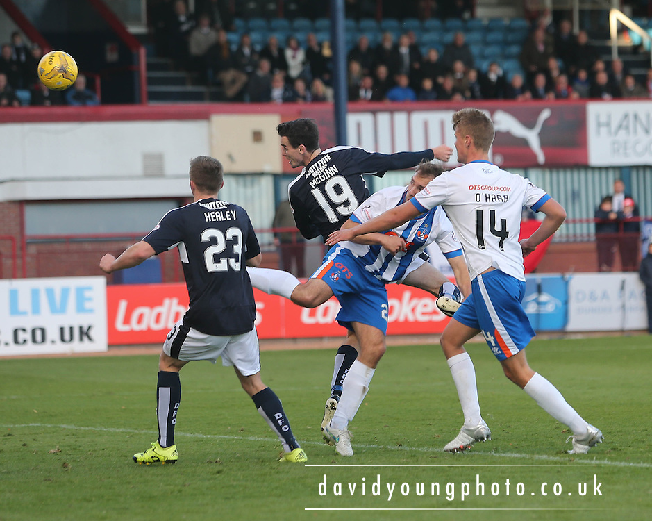 Dundee&rsquo;s Paul McGinn header which was saved brilliantly by Kilmarnock&rsquo;s Jamie MacDonald  - Dundee v Kilmarnock, Ladbrokes Premiership at Dens Park <br /> <br />  - &copy; David Young - www.davidyoungphoto.co.uk - email: davidyoungphoto@gmail.com
