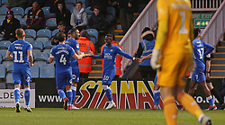 Siriki Dembele of Peterborough United (centre) celebrates scoring his sides second goal of the game - Mandatory by-line: Joe Dent/JMP - 01/12/2018 - FOOTBALL - ABAX Stadium - Peterborough, England - Peterborough United v Bradford City - Emirates FA Cup second round proper