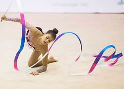 Tamia Dulce Villca Seme of Slovenia competes during 27th MTM - International tournament in rhythmic gymnastics Ljubljana, on April 19, 2014 in Arena Krim, Ljubljana, Slovenia. Photo by Vid Ponikvar / Sportida