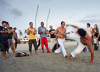 Sunset capoeira on the beach of Jericoacoara, Brazil