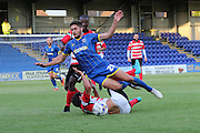 Ryan Sweeney during the Pre-Season Friendly match between Kingstonian and AFC Wimbledon at the Cherry Red Records Stadium, Kingston, England on 30 July 2015. Photo by Stuart Butcher.