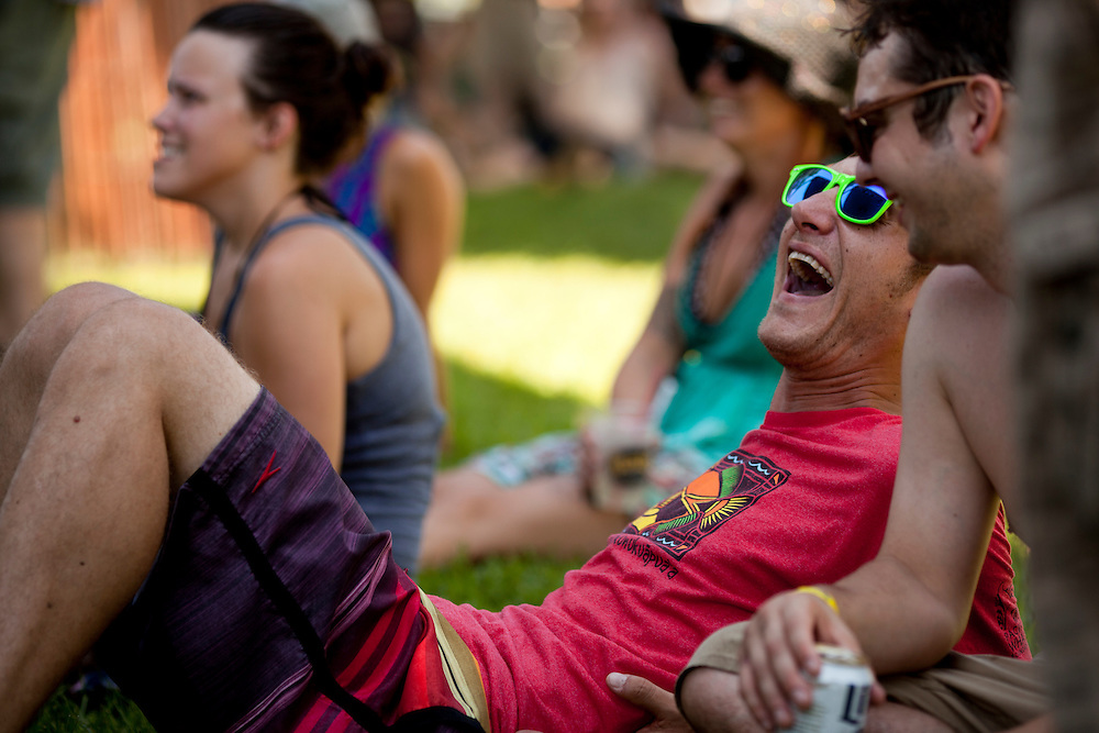 Derek Jansen of Des Moines reacts to his friends at a performance by bluegrass band Mr. Baber's Neighbors at Camp Euforia on Friday, July 18, 2015. The annual music fest,  now in its 12th year, hosts over a thousand campers and guests on a farm near Lone Tree in southern Johnson County.