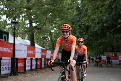 Riejanne Markus (NED) of CCC-Liv Team warms up for the Prudential RideLondon Classique, a 68 km road race starting and finishing in London, United Kingdom on August 3, 2019. Photo by Balint Hamvas/velofocus.com