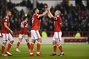 Nottingham Forest forward Apostolos Vellios (39) celebrates with Nottingham Forest midfielder Ben Watson (32) after scoring a goal to make it 3-0 during the EFL Sky Bet Championship match between Nottingham Forest and Barnsley at the City Ground, Nottingham, England on 24 April 2018. Picture by Jon Hobley.