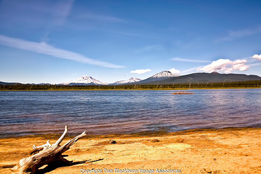 Crane Prairie Reservoir Oregon Including South Sister, Broken Top Mountain and Mt. Bachelor