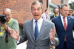 © Licensed to London News Pictures. 27/08/2019. London, UK.  Leader of The Brexit Party Nigel Farage arrives at Emmanuel House in London for the announcement of prospective parliamentary candidates. Photo credit: Ray Tang/LNP