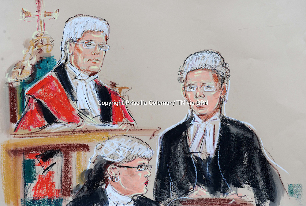 ARTWORK SHOWS: Mr justice Saunders at the Old Bailey, where he is presiding over the case of Farmer and Sonnex, who are accused of the murder of two french students in New Cross, London. Gabriel Ferez and Laurent Bonomo were murdered in their bedsit during a burglary. Also shown is Crispin Aylett QC.