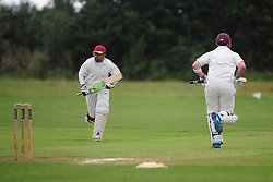 OPENING OGs BATSMAN GARY SMALL AND FAZ  AFTER GAME RESTARTS AFTER HEAVY RAIN, Wellingborough Old Grammarians v  Kislingbury Cricket Club, Saturday 3rd September 2016