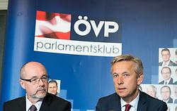 """12.04.2017, Parlament, Wien, AUT, ÖVP, Pressekonferenz mit dem Titel """"EU Beitrittsperspektiven der Westbalkanländer"""". im Bild v.l.n.r. Nationalratsabgeordneter ÖVP Christoph Vavrik und ÖVP Klubobmann Reinhold Lopatka // f.l.t.r. Member of Parliament OeVP Christoph Vavrik and Leader of the Parliamentary Group OeVP Reinhold Lopatka during press conferenc of the austrian people' s party in Vienna, Austria on 2017/04/12. EXPA Pictures © 2017, PhotoCredit: EXPA/ Michael Gruber"""